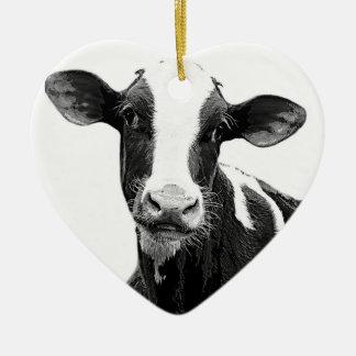 Vaca lechera - becerro blanco y negro de la adorno navideño de cerámica en forma de corazón
