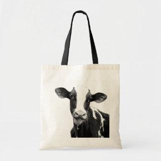 Vaca lechera - becerro blanco y negro de la lecher bolsa lienzo