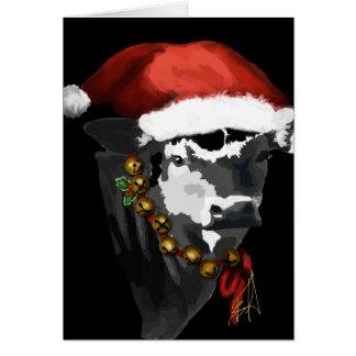 Vaca lechera blanco y negro para el navidad tarjeta de felicitación