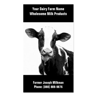 Vaca lechera blanco y negro para la operación de tarjetas de visita