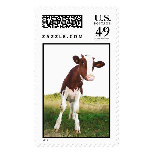 Vaca lechera - Brown pintado y Holstein blanca Sellos Postales