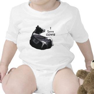 Vaca lechera de Holstein: Amo vacas: Arte original Traje De Bebé