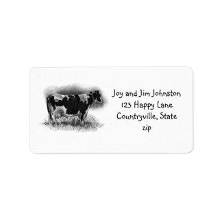 Vaca lechera de Holstein en lápiz: Granja Etiqueta De Dirección