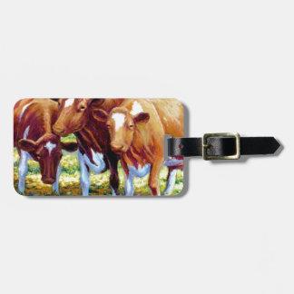 Vaca lechera de las vacas en imagen de la pintura  etiquetas de equipaje