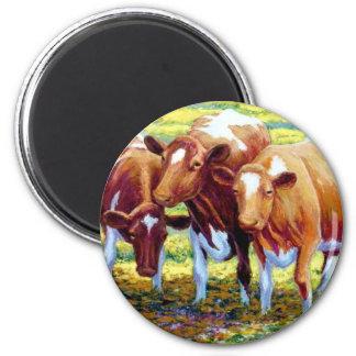 Vaca lechera de las vacas en imagen de la pintura  imán