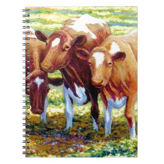 Vaca lechera de las vacas en imagen de la pintura  libretas