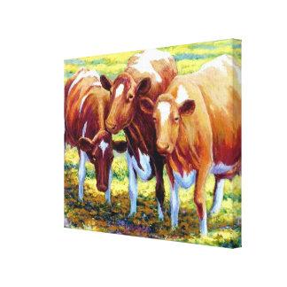 Vaca lechera de las vacas en imagen de la pintura impresiones de lienzo
