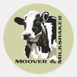 Vaca lechera de Moover Pegatina Redonda