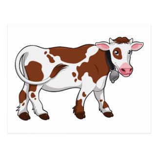 Vaca lechera del dibujo animado lindo postales