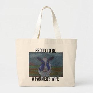Vaca lechera del granjero orgulloso bolsa tela grande