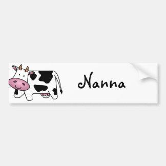 Vaca lechera linda etiqueta de parachoque