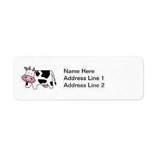 Vaca lechera linda etiqueta de remite