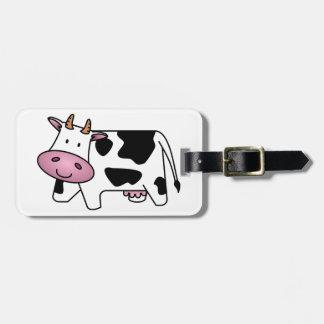 Vaca lechera linda etiquetas maleta