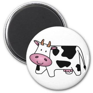 Vaca lechera linda imán redondo 5 cm