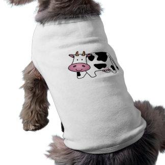 Vaca lechera linda playera sin mangas para perro