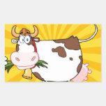 Vaca lechera rectangular pegatina