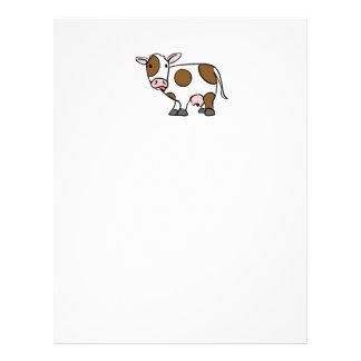 Vaca linda Brown del dibujo animado y blanco Membrete