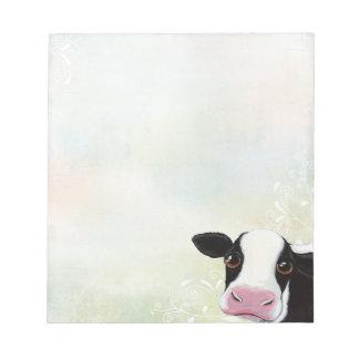 Vaca linda con remolinos y pasteles del arco iris bloc