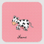 Vaca linda conocida personalizada colcomanias cuadradass