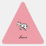 Vaca linda conocida personalizada calcomanía de triangulo