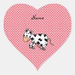 Vaca linda conocida personalizada calcomanía corazón personalizadas
