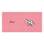 Vaca linda conocida personalizada tarjetas fotográficas personalizadas