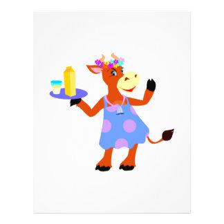 Vaca linda de la camarera tarjetones