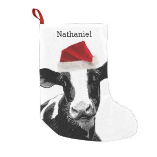 Vaca linda de Santa con nombre personalizado Calcetín Navideño Pequeño