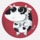 Vaca linda del bebé etiquetas redondas