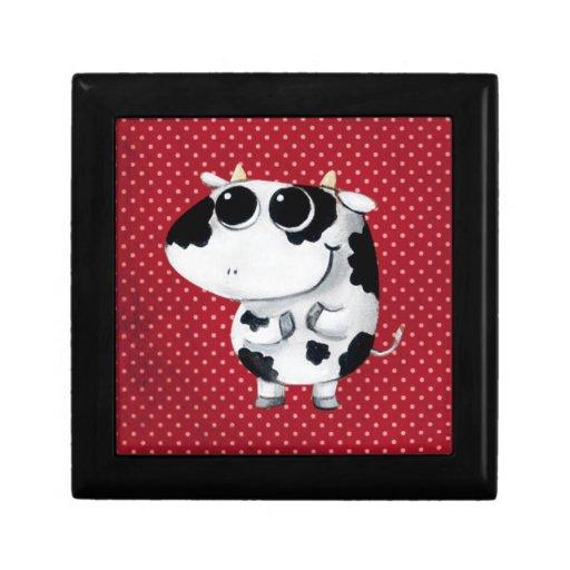 Vaca linda del bebé joyero cuadrado pequeño