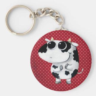 Vaca linda del bebé llavero redondo tipo pin