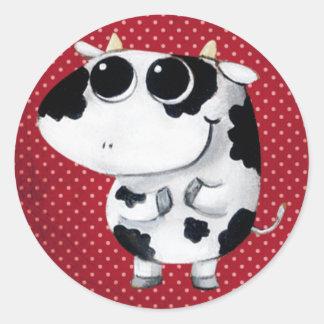 Vaca linda del bebé pegatina redonda