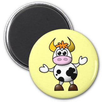 Vaca linda del dibujo animado imán redondo 5 cm