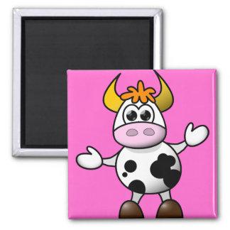 Vaca linda del dibujo animado imán cuadrado