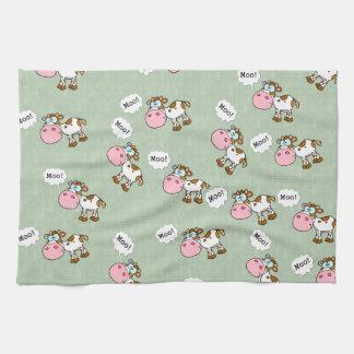 Vaca linda del dibujo animado toalla de cocina