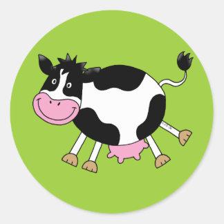 Vaca linda del dibujo animado pegatina redonda