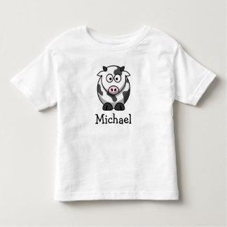 Vaca linda del dibujo animado personalizada con playera de bebé
