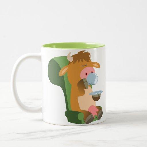 Vaca linda del dibujo animado y Niza una taza de C