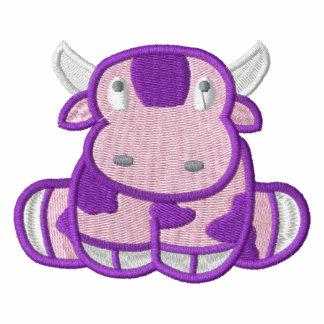Vaca linda del MOO de la púrpura Sudadera Bordada