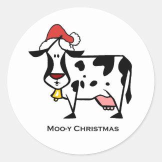 Vaca linda del navidad etiquetas redondas