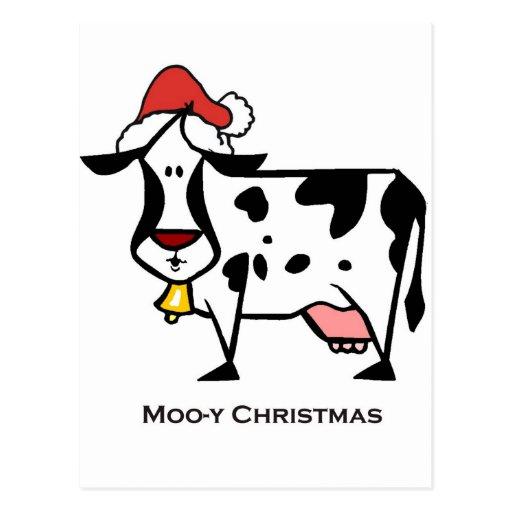 Vaca linda del navidad postal