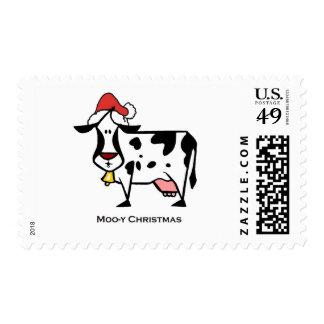 Vaca linda del navidad sello postal