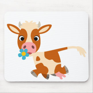Vaca linda Mousepad el trotar del dibujo animado