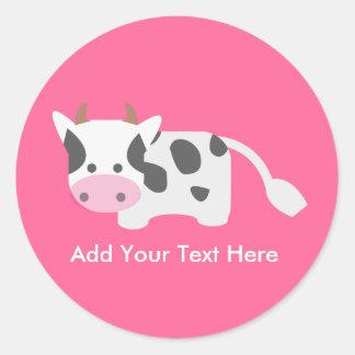 Vaca linda y adorable pegatinas redondas