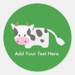 Vaca linda y adorable pegatina redonda