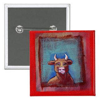 Vaca loca - ARTE emocional de la vaca del trastorn Pin Cuadrado