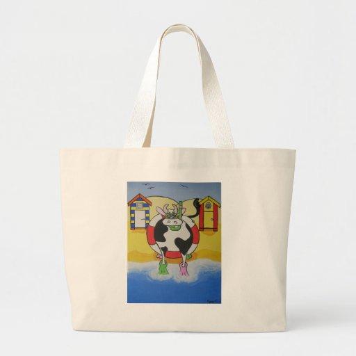 Vaca loca en la playa bolsas de mano
