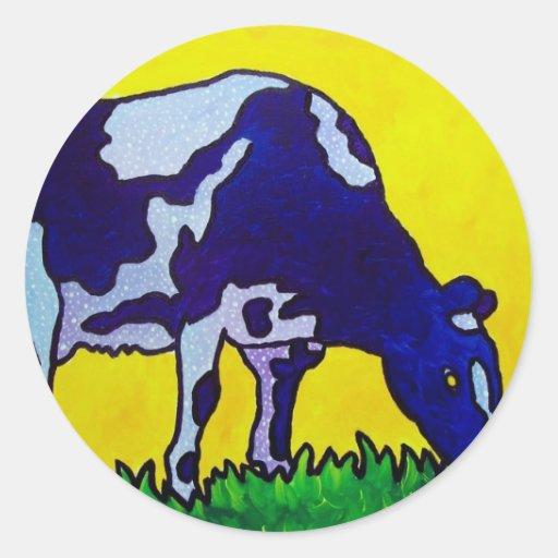 Vaca mágica pegatina redonda