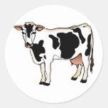 Vaca manchada etiqueta redonda