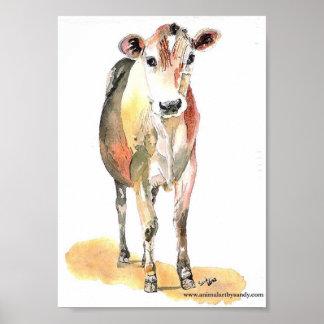 vaca marrón para el mate de la lona impresiones